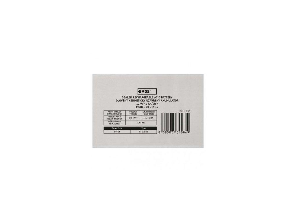 EMOS Bezúdržbový olověný akumulátor 12 V/7,2 Ah, faston 4,7 mm B9654