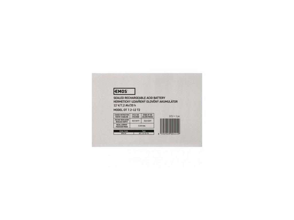 EMOS Bezúdržbový olověný akumulátor 12 V/7,2 Ah, faston 6,3 mm B9674