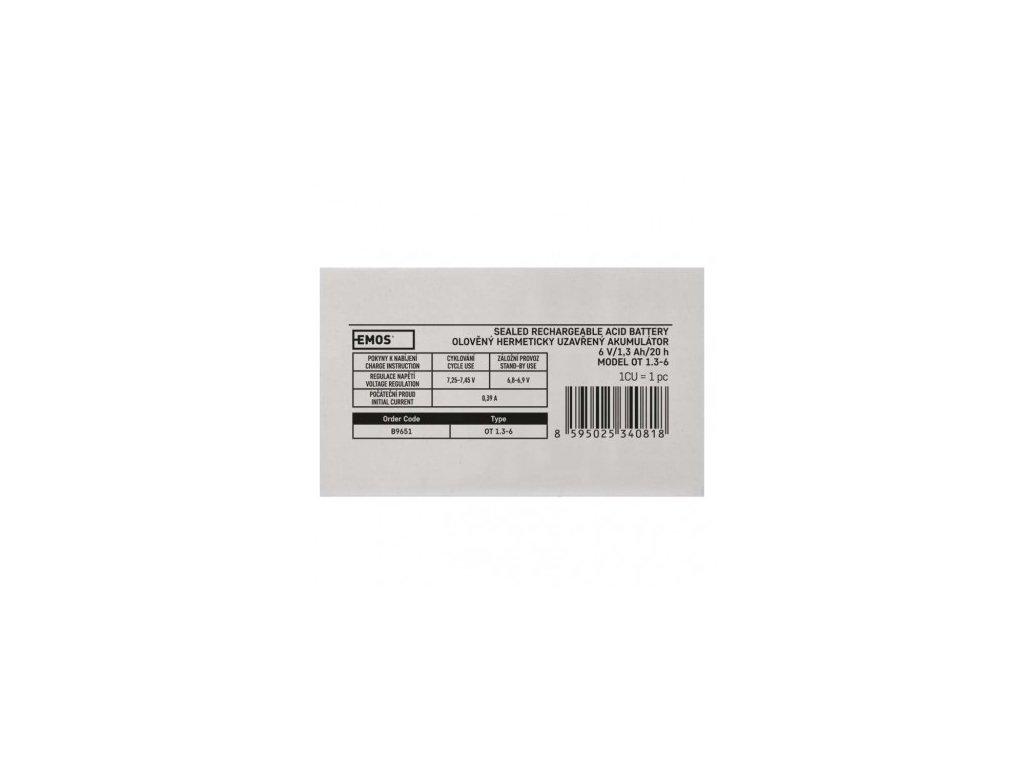 EMOS Bezúdržbový olověný akumulátor 6 V/1,3 Ah, faston 4,7 mm B9651