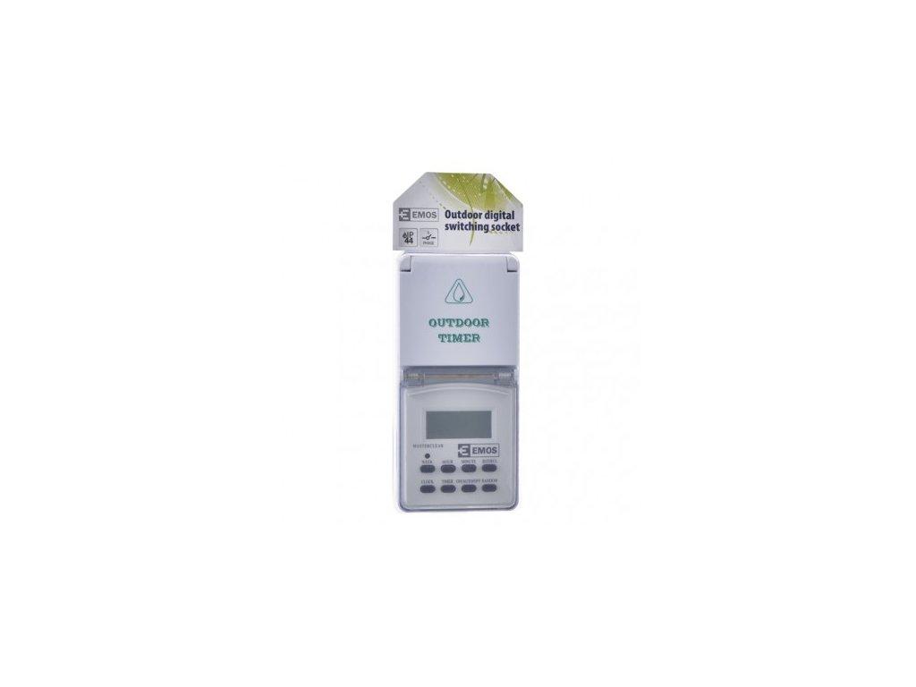 EMOS Časovač – digitální spínací zásuvka venkovní IP44 P5507