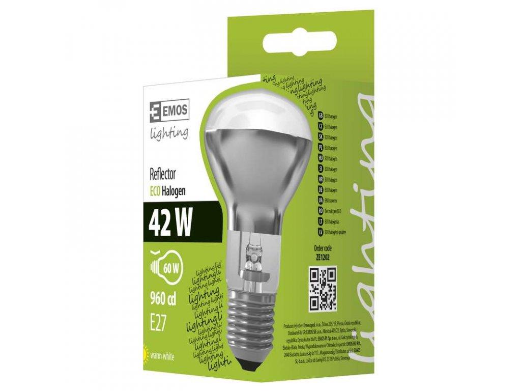 EMOS Lighting Halogenová žárovka ECO R63 42W E27 teplá bílá, stmívatelná ZE1202