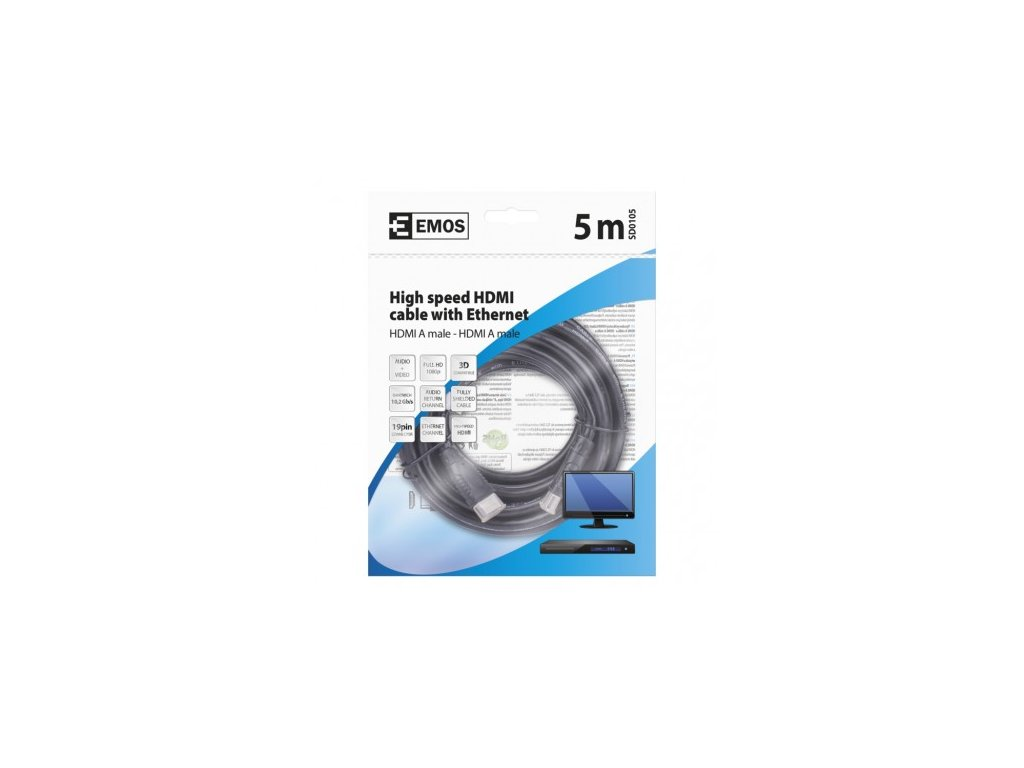 EMOS HDMI 2.0 high speed kabel ethernet A vidlice - A vidlice 5m SD0105