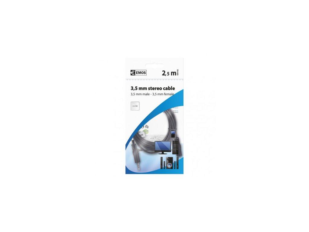 EMOS JACK kabel 3,5mm stereo, vidlice - 3,5mm zásuvka 2,5m SD5102