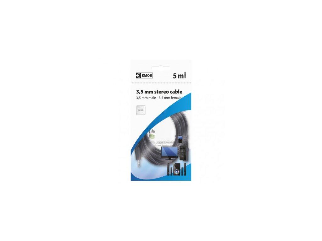 EMOS JACK kabel 3,5mm stereo, vidlice - 3,5mm zásuvka 5m SD5105
