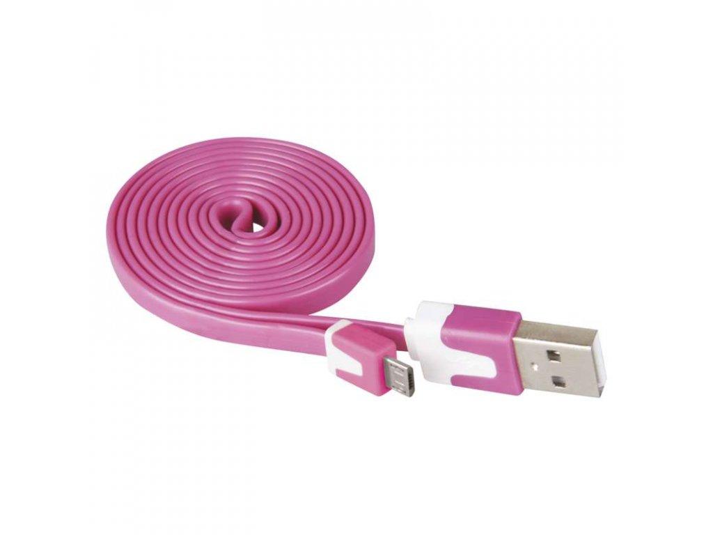 EMOS USB kabel 2.0 A/M - micro B/M 1m růžový SM7001P