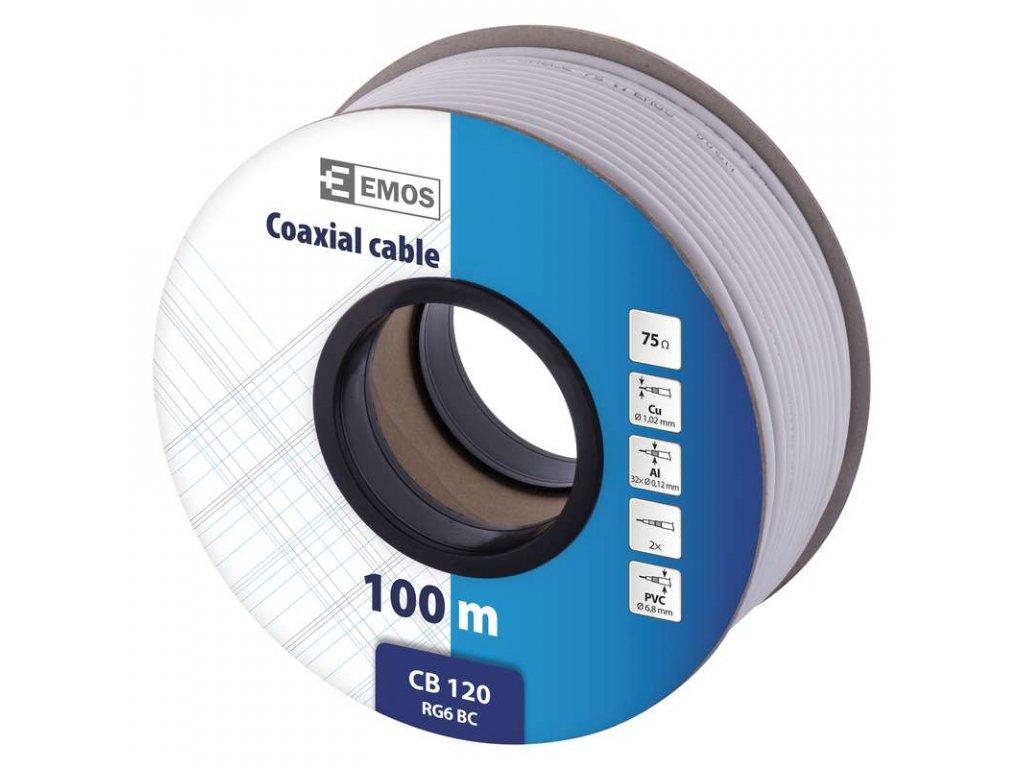 EMOS Koaxiální kabel CB120, 100m S5371