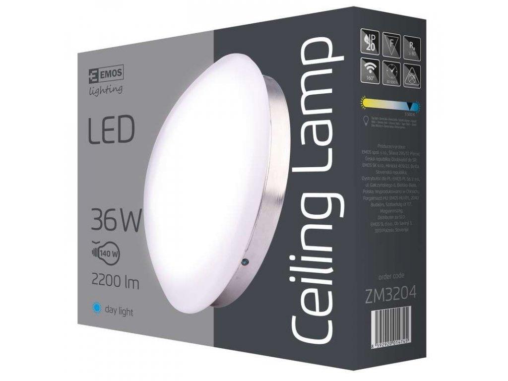EMOS Lighting LED přisazené svítidlo, kruh stříbrná 36W denní b. ZM3204