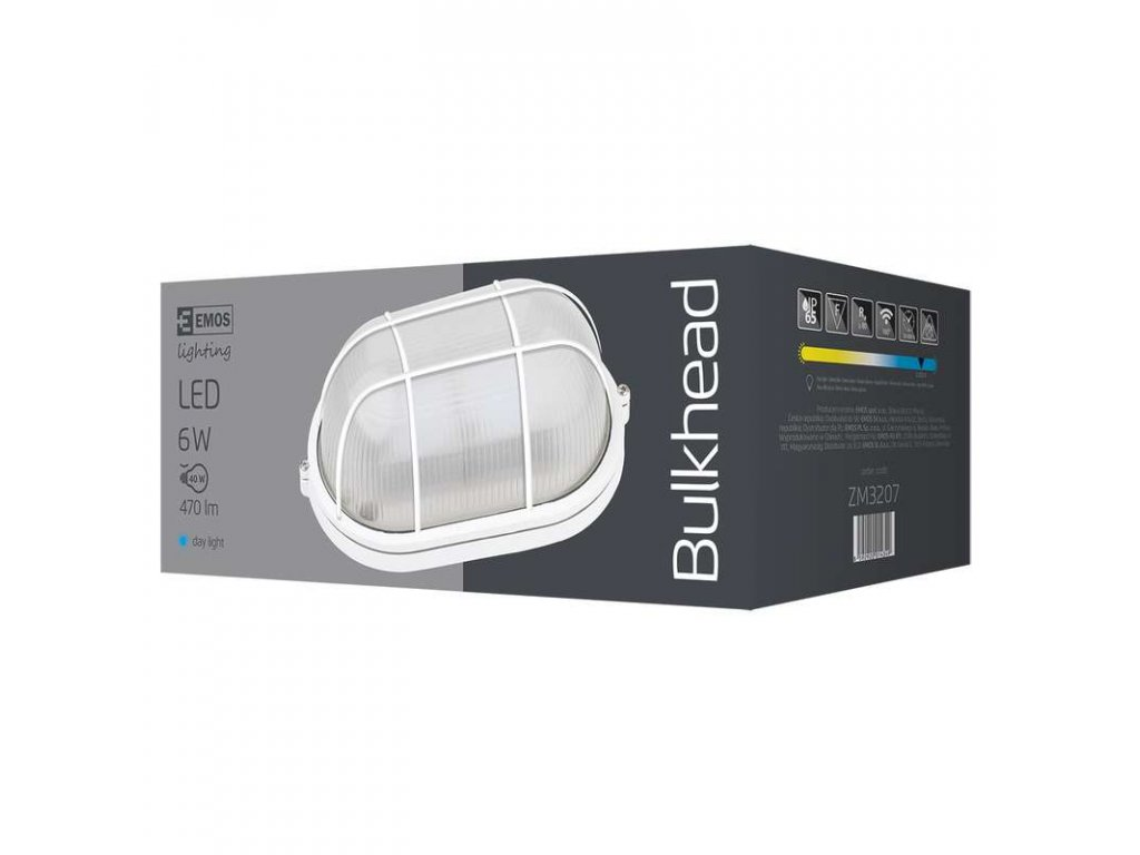 EMOS Lighting LED přisazené svítidlo, ovál mřížka 6W denní bílá ZM3207