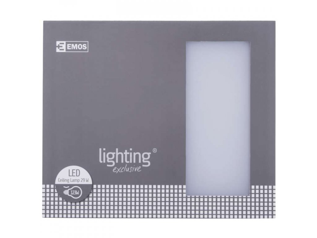 EMOS Lighting LED přisazené svítidlo, čtverec stříbrná 29W stud. bílá stm. ZM1303
