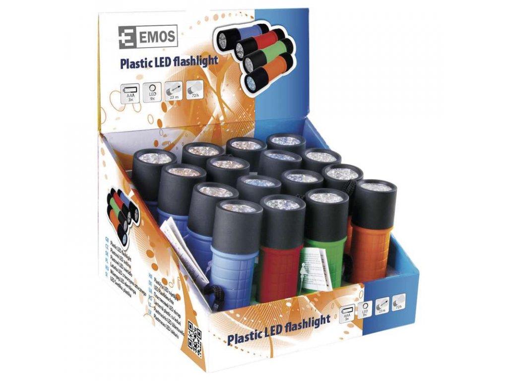EMOS LED svítilna  plastová, 9x LED, na 3x AAA P3857