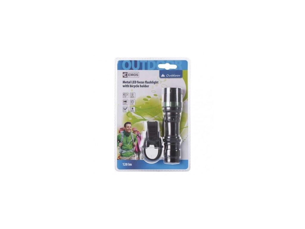 EMOS LED ruční kovová svítilna P3839, 120 lm, 3× AAA, fokus P3839