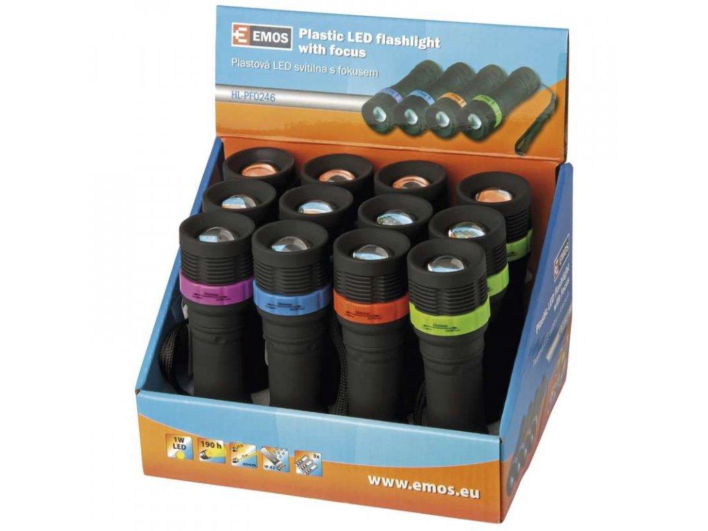 EMOS LED svítilna plastová, 1W LED, na 3x AAA, FOKUS, 12 ks P3854
