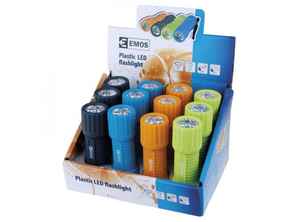 EMOS LED svítilna plastová, 6x LED, na 3x AAA P3838