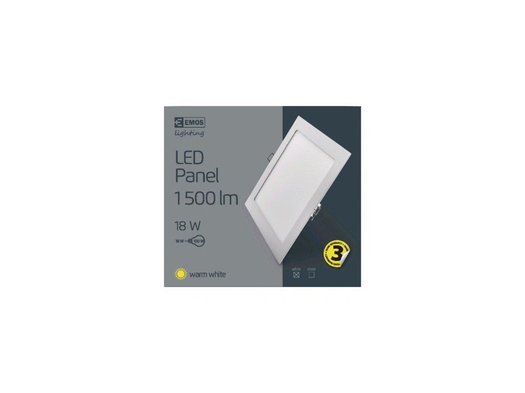 EMOS Lighting LED panel 220×220, čtvercový vestavný bílý, 18W teplá bílá ZD2141