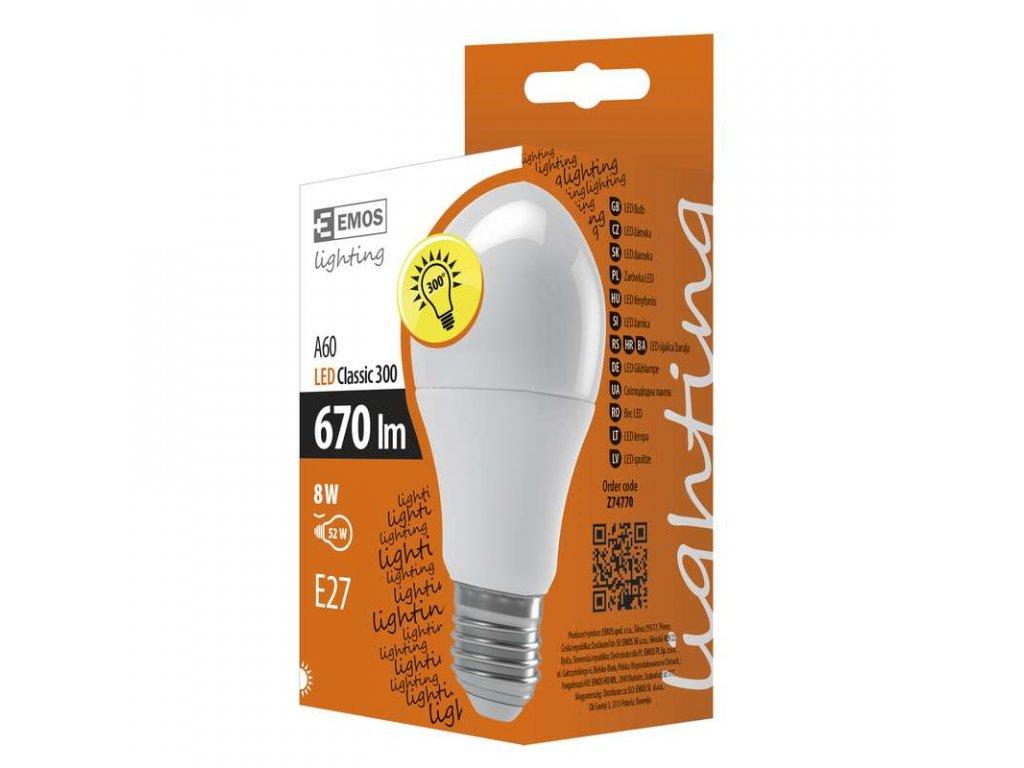EMOS Lighting LED žárovka Classic A60 8W E27 neutrální bílá Z74770