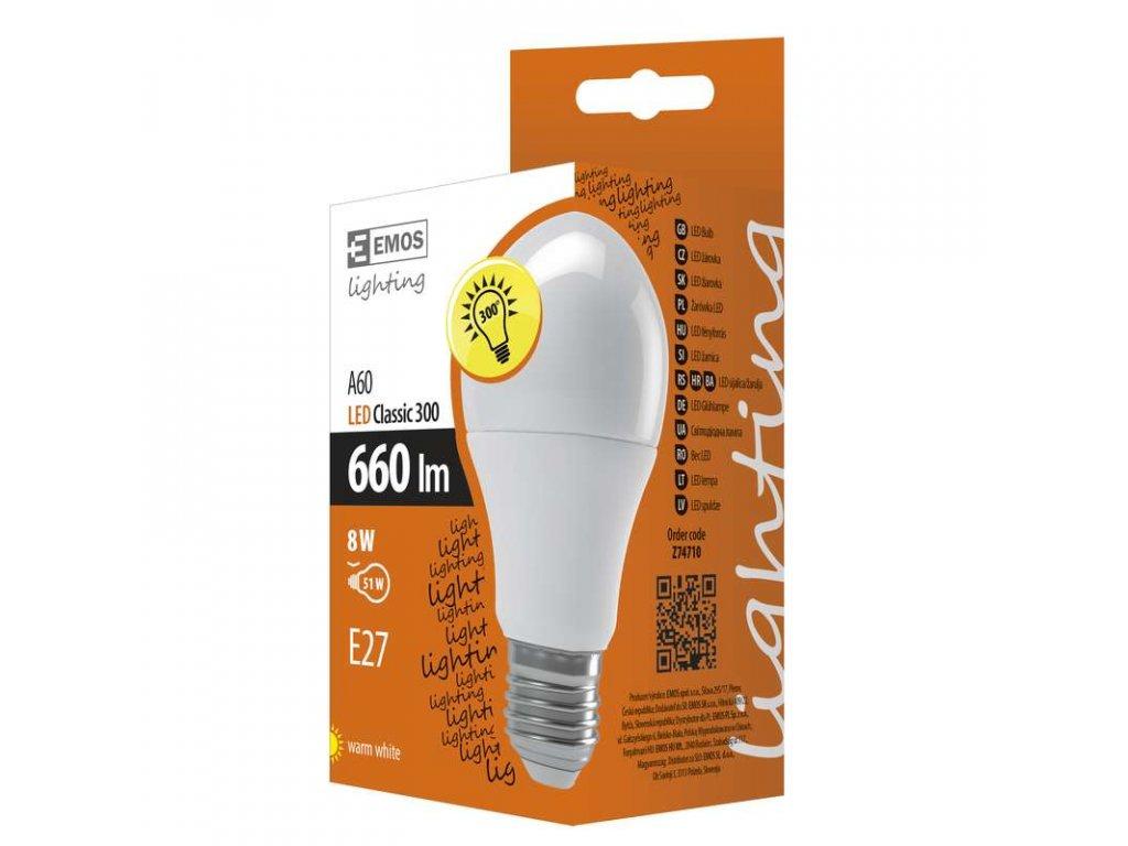 EMOS Lighting LED žárovka Classic A60 8W E27 teplá bílá Z74710