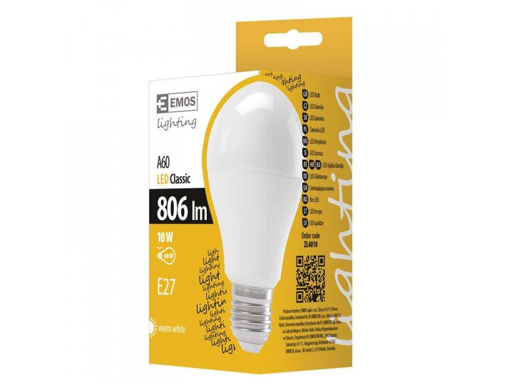 EMOS Lighting LED žárovka A60 10W E27 teplá bílá ZL4010