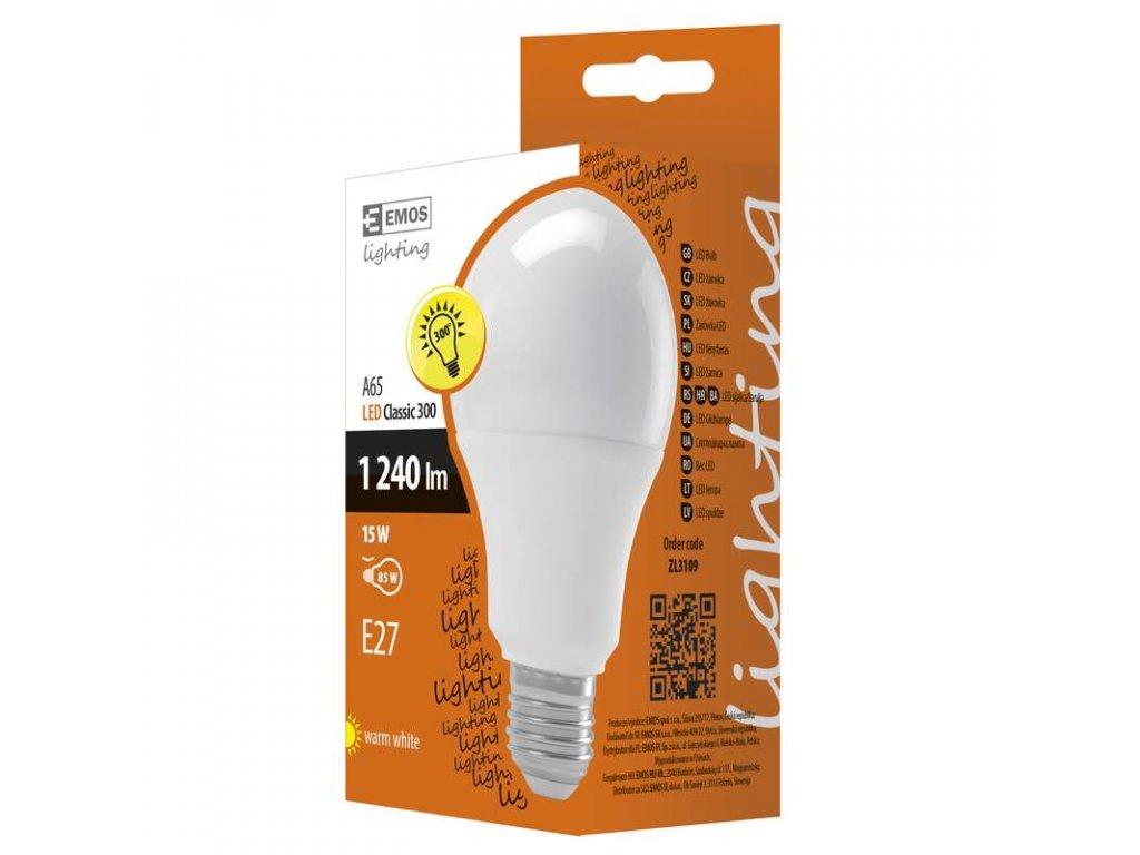 EMOS Lighting LED žárovka Classic A65 15W E27 teplá bílá ZL3109