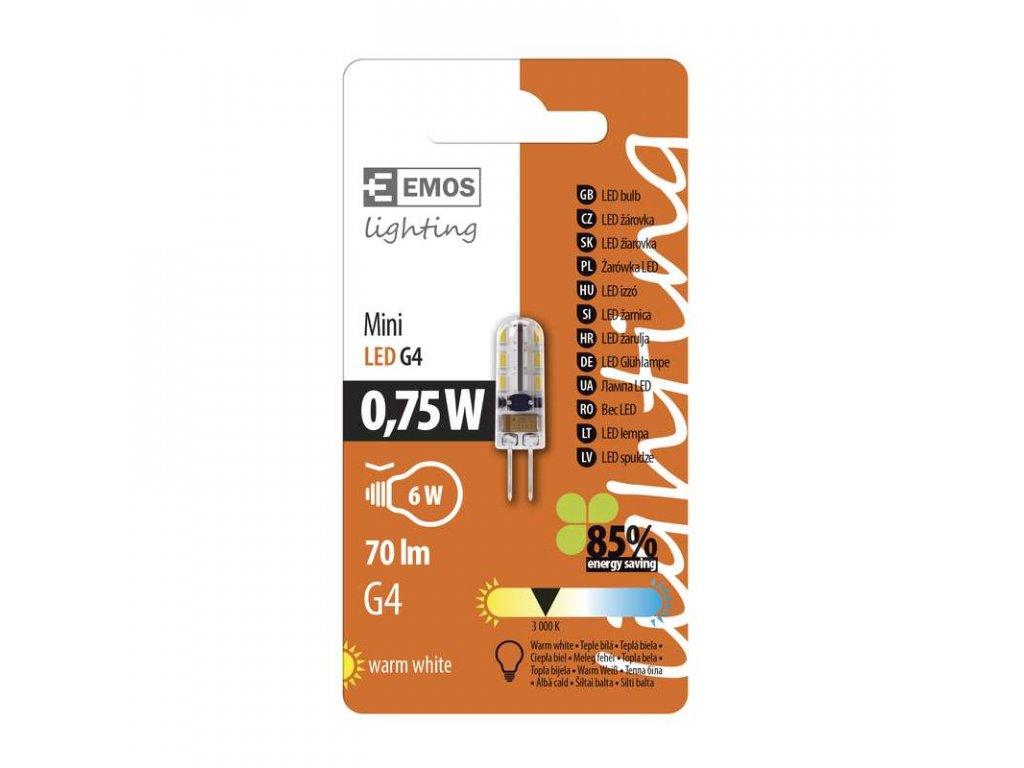 EMOS Lighting LED žárovka Classic JC A++ 0,75W G4 teplá bílá Z74810