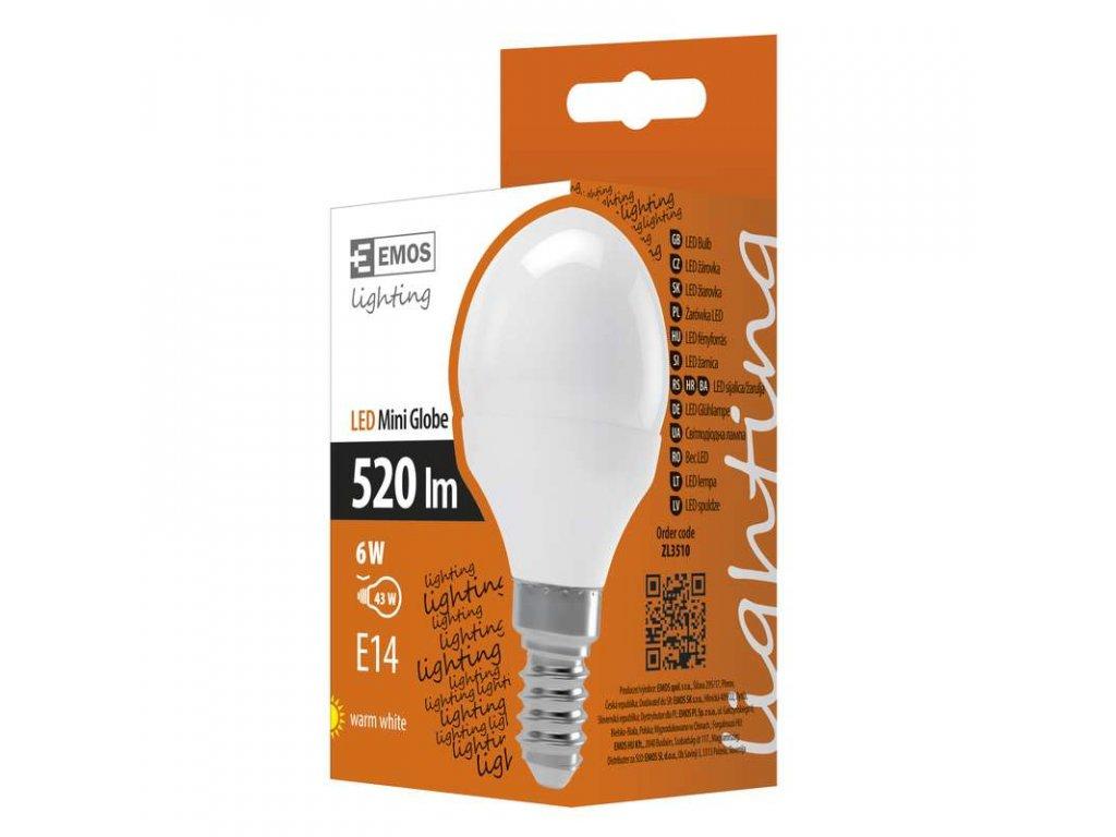 EMOS Lighting LED žárovka Classic Mini Globe 6W E14 teplá bílá ZL3510