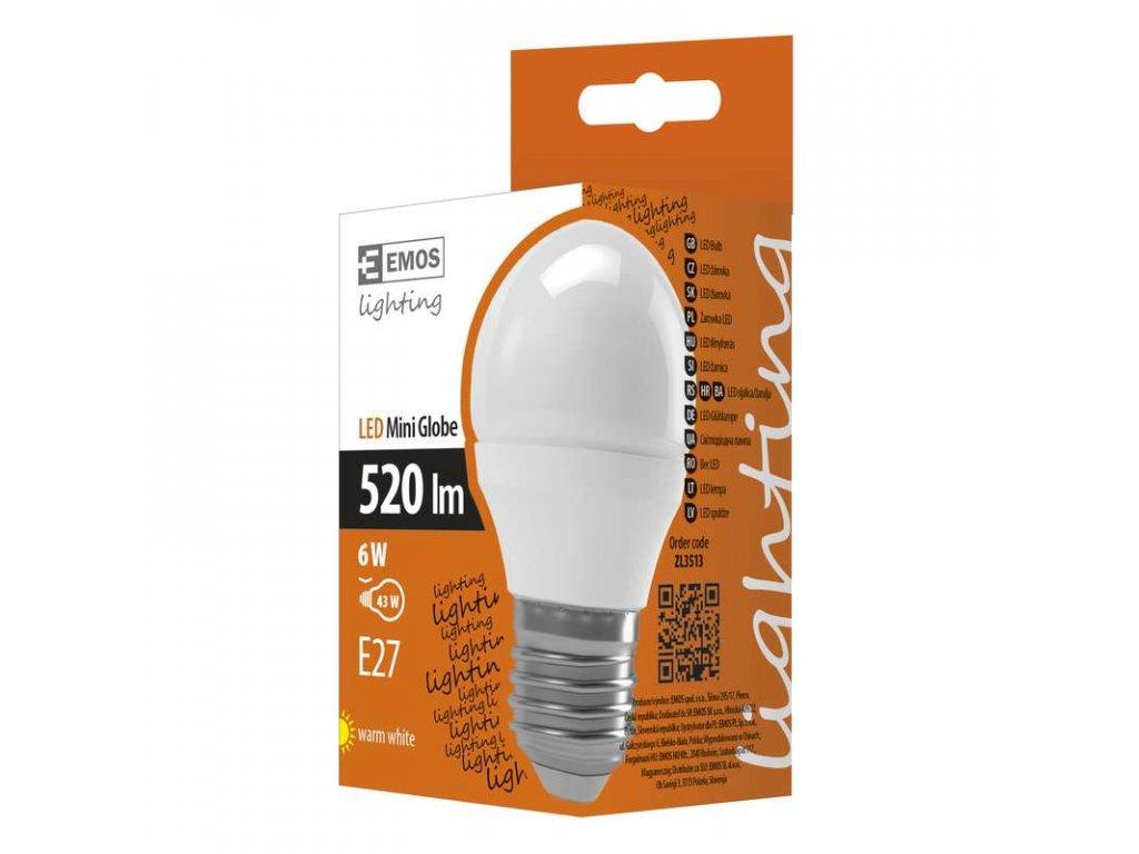 EMOS Lighting LED žárovka Classic Mini Globe 6W E27 teplá bílá ZL3513