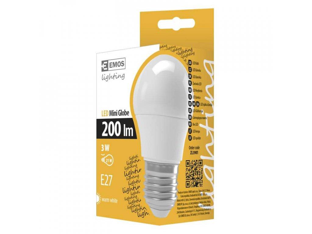 EMOS Lighting LED žárovka Mini Globe 3W E27 teplá bílá ZL3901