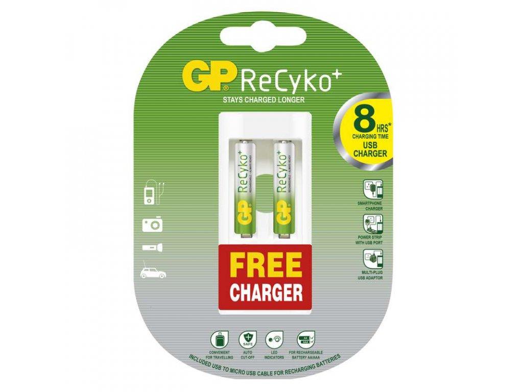 GP Batteries Nabíjecí baterie GP ReCyko+ 2AAA + USB nabíječka ZDARMA B02111