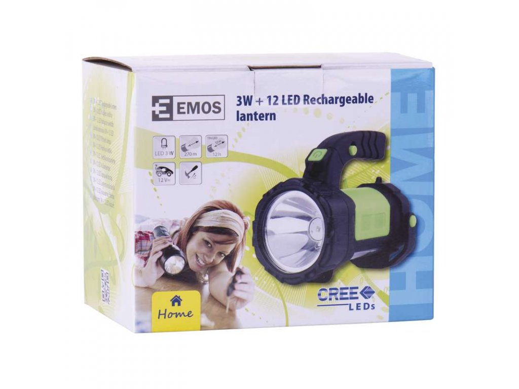 EMOS Nabíjecí svítilna LED E208A, 3W CREE + 12x LED P4517