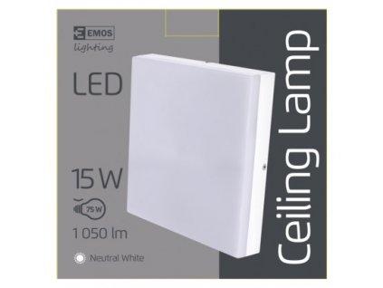 EMOS Lighting LED přisazené svítidlo, čtvercové bílé 15W neutr. b., IP44 ZM4303