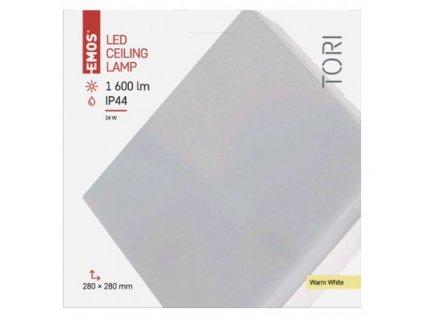 EMOS Lighting LED přisazené svítidlo, čtvercové bílé 24W teplá b., IP44 ZM4104