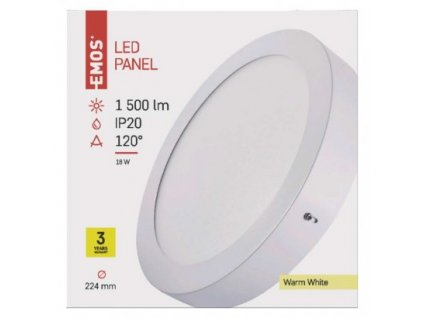 EMOS Lighting LED panel 224mm, kruhový přisazený bílý, 18W teplá bílá ZM5141