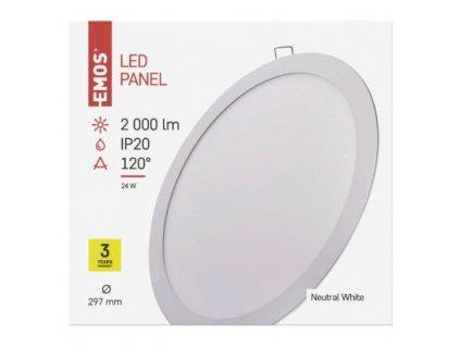 EMOS Lighting LED panel 297mm, kruhový vestavný bílý, 24W neutrální bílá ZD1152