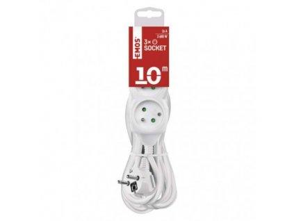 EMOS Prodlužovací kabel – 3 zásuvky, 10m, 3× 1,5mm2, bílý P0310R