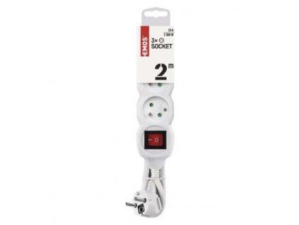 EMOS Prodlužovací kabel s vypínačem – 3 zásuvky, 2m, bílý P1312