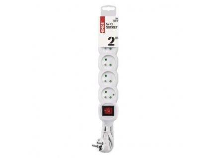 EMOS Prodlužovací kabel s vypínačem – 5 zásuvky, 2m, bílý P1512