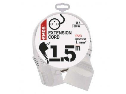 EMOS Prodlužovací kabel – spojka, 1,5m, bílý P0111