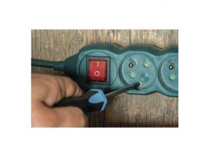 EMOS Prodlužovací kabel s vypínačem – 3 zásuvky, 3m, zelená P1313Z