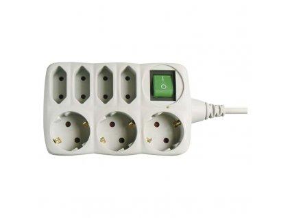 EMOS Prodlužovací kabel SCHUKO s vypínačem – 4+3 zásuvky, 1,5m PS1721