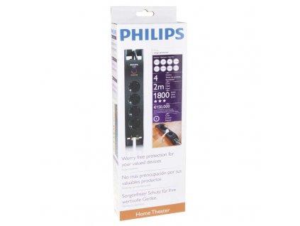 Philips Přepěťová ochrana PHILIPS 4 zásuvky 2m SCHUKO černá P54230
