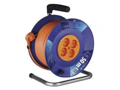 EMOS PVC prodlužovací kabel na bubnu – 4 zás., 50m, 1,5mm2 SCHUKO P09250