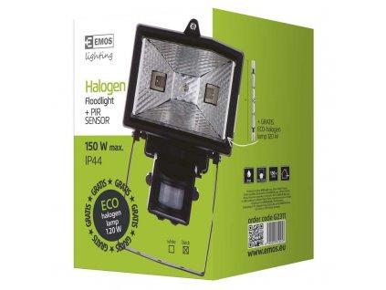 EMOS Lighting Halogenový reflektor 150W s PIR senzorem černý G2311