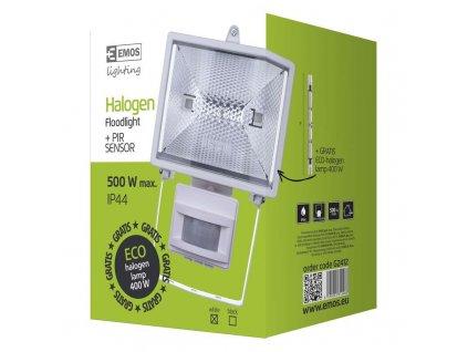 EMOS Lighting Halogenový reflektor 500W s PIR senzorem bílý G2412