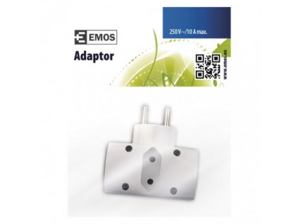 EMOS Rozbočovací zásuvka 2× kulatá + 1× plochá, bílá P0023