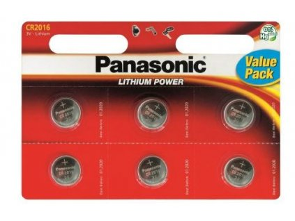 Panasonic Lithiové knoflíkové baterie CR2016 6 ks