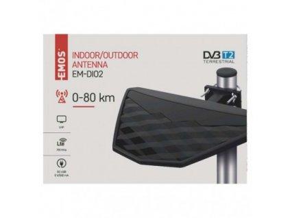 Univerzální anténa EMOS EM-DIO2, 0–80 km DVB-T2
