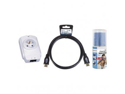 Starter kit EMOS- přepěťová ochrana, čistící set, HDMI kabel