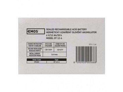 EMOS Bezúdržbový olověný akumulátor 6 V/12 Ah, faston 4,7 mm B9682