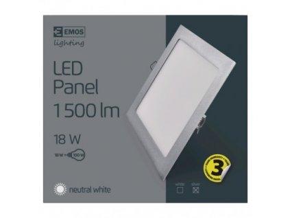 EMOS Lighting LED panel 225×225, čtvercový vestavný stříbrný, 18W neutr.b. ZD2242