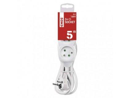 EMOS Prodlužovací kabel – 3 zásuvky, 5m, 3× 1,5mm2, bílý P0315R