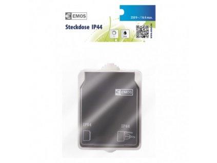 EMOS Zásuvka SCHUKO nástěnná, šedo-černá, IP44 A1396